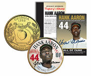 Hank Aaron Hall Of Fame Legends Colorized Georgia Quarter Gold Plated Coin