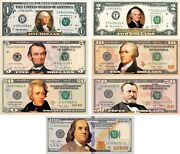 Set Of All 7 Colorized 2-sided U.s. Bills Currency 1/2/5/10/20/50/100