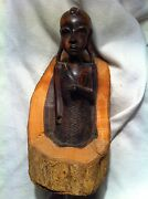 African Vintage Ebony Wood Carving On Rough Bark , Woman
