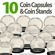 10 Coin Capsules And 10 Coin Stands For 1oz Silver Or Copper Rounds Airtight 39mm