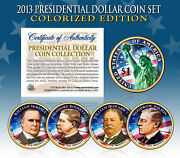 2013 Presidential 1 Dollar Colorized President 4-coin Complete Set W/capsules