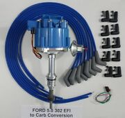 Ford 5.0l 302 Efi To Carb Hei Distributor And Blue Universal Spark Plug Wires Usa