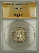 1930 Standing Liberty Silver Quarter 25c Anacs Ms-63 Toned Fh Full Head