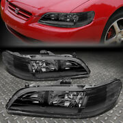 For 98-02 Honda Accord Black Housing Clear Corner Headlight Replacement Lamps