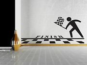 Wall Sticker Vinyl Decal Finish Line Checkered Flag Pole Position N045