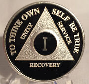 Black And Silver Plated Any Year Aa Chip Alcoholics Anonymous Medallion Coin 1-55