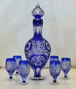 Cased Crystal Decanter And 6 Glasses H53cm Blue Cut To Clear Overlay Russia New