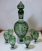 Cased Crystal Decanter And 6 Glasses H53cm Green Cut To Clear Overlay Russia New