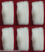 6 White Twisted 3 Strand 3/8 X 25and039 Ft Hq Boat Marine Dock Lines Mooring Ropes