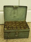 Vintage Metal Mobile Storage Box With Pin Lock Sectioned Cylinder Bulb Storage