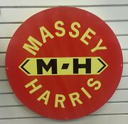Massey Harris Large Round Heavy Steel Sign Red Background