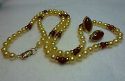 Ming's Necklace Earrings Set Honey Red Jade Golden Pearls 14k Yellow Gold