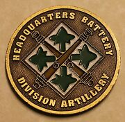 Headquarters Battery Division Artillery Commanderand039s Army Challenge Coin