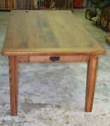 Oak Harvest/dining Table Rustic Primitive Country Farmhouse Reclaimed Salvaged