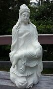 Large Impressive Antique Chinese Statue Of Kwan-yin Hand Carved Alababaster