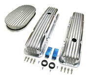 58-86 Chevy Polished Aluminum Finned Valve Covers And 15 X 2 Air Cleaner Kit Sbc
