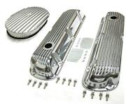 Sbf Ford 289 302 Finned Retro Aluminum Valve Covers And 12 X 2 Air Cleaner Kit