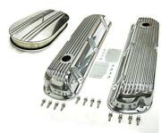 Sbf Ford 289 302 351w Finned Retro Aluminum Valve Covers And 15 Air Cleaner Kit