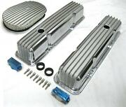 58-86 Sbc Chevy Tall Polished Aluminum Finned Valve Covers And 15 Air Cleaner Kit