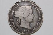 Net Very Good 1868 Philippines 50 Centimos Silver Coin Km 147 Phi105