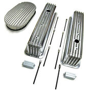 Sbc 350 Chevy Tall Polished Aluminum Finned Valve Covers And 15 Air Cleaner Kit