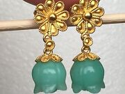 Carved Green Jade And Gold Ornate Flower Post Earrings, 18k Yellow Gold