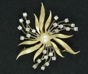 Antique 1930's Solid 14k Yellow And White Gold W/ Pearl Pin Brooch 10.8 G