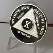 Black And Silver Plated Ten Year Aa Chip Alcoholics Anonymous Medallion Coin 10