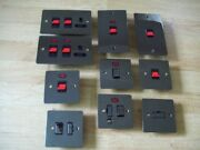 Polished Black Nickel Double Pole Neon Cooker Switch Control Unit Plates