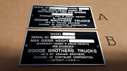 Dodge Brothers Truck Data Plate Acid Etched Aluminum 1920s - 1940s Choice A Or B