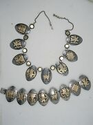 Massive 40s Old Cuzco Peru Inlaid Sterling W/ 18k Gold Panel Necklace And Bracelet