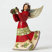 Jim Shore Christmas Angel W/holly And Pine Cones Figurine 4047761