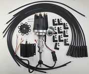 Ford Y Block 256-272-292-312 Black Small Hei Distributor + Plug Wires + 50k Coil