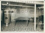 Vintage Oil Furnace In Basement Rec Room Ping Pong Table Press Photo