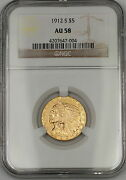 1912-s Five Dollar 5 Indian Half Eagle Gold Coin Ngc Au-58