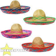Sombrero Hat Mexican Straw Accessory Holiday Hen Stag Bandit Fancy Dress Lot