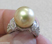Spectacular 11 Mm Golden South Sea Pearl And Diamond Ring 14k Wg Make Offer