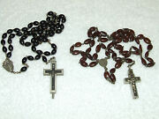 Antique Pair Of 19th C. Seed Bean Reliquary Relic Rosary Rosaries Roma Italy