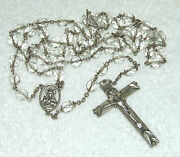 Antique Signed Sterling Silver And Cut Glass Crystal Jesus Inri Rosary Italy