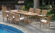 Leveb A-grade Teak 9 Pc Dining 117 Mas Oval Table 8 Stacking Arm Chair Set