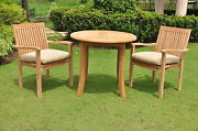 Leveb A-grade Teak Wood 3pc Dining 36 Round Table Arm Stacking Chair Outdoor Set