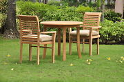 Sam A-grade Teak Wood 3 Pc Dining 36 Round Table Arm Stacking Chair Outdoor Set