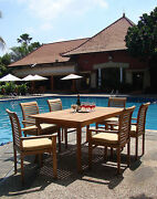 Sam A-grade Teak 7pc Dining 71 Rectangle Table 6 Stacking Arm Chair Set New