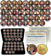 All 45 United States Presidents Full Coin Set 24k Gold Plated Dc Quarters W/ Box