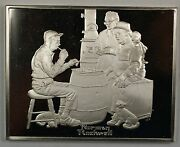 Norman Rockwell Fondest Memories The Checker Game Sterling Silver Proof Ingot