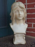 Antique Victorian Art Nouveau Artist Signed Carved Girl Marble Bust Statue