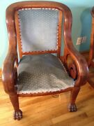 Rare 1800and039s Antique American Victorian Edwardian Mahogany Kings Chair Lion Paw