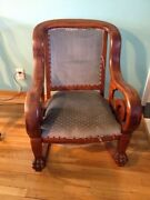 Rare 1800and039s Antique American Victorian Edwardian Mahogany Rocking Chair Lion Paw