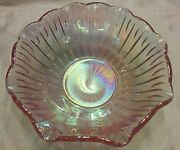 Iridescent Hue Rose Pink Carnival Glass Bowl 8 By Smith Glass Company Sgc Vintg