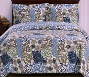 Quilt Coverlet Set Tropical Exotic Blue Green 3pc Reversible Bedspread Bedding